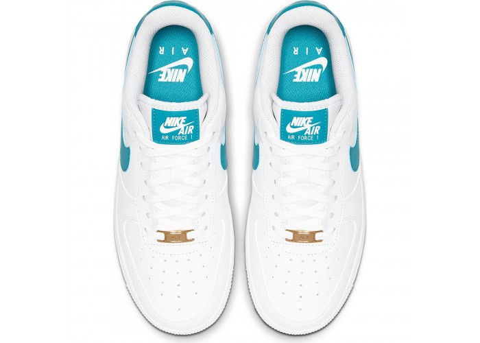 Кроссовки Nike Air Force 1 '07 White/Teal Nebula-Metallic Gold (36-40)