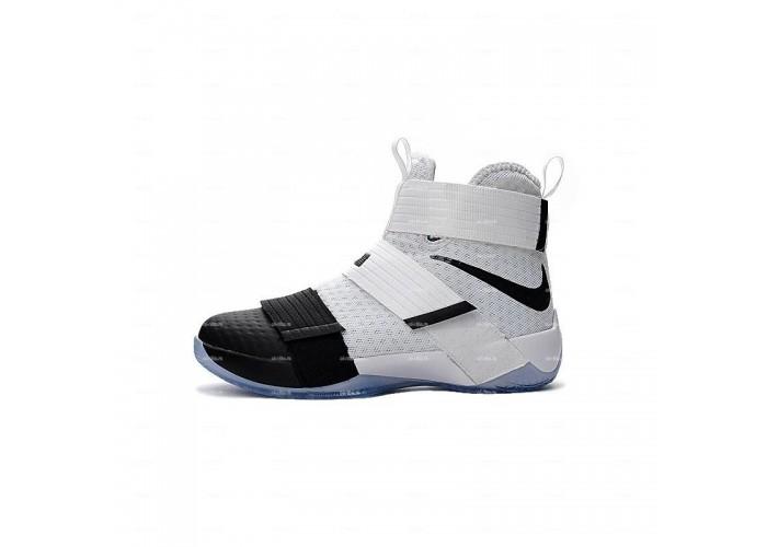 Мужские кроссовки Nike Lebron Soldier 10 (бело-черный)